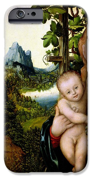 Virgin Mary iPhone Cases - Madonna and Child iPhone Case by Lucas the elder Cranach