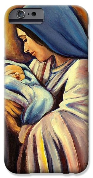 Jesus With Children iPhone Cases - Madonna and Child iPhone Case by Sheila Diemert