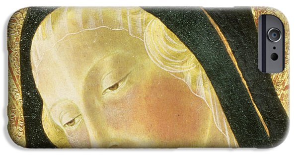 Face Photographs iPhone Cases - Madonna And Child Tempera On Panel Detail Of 9306 iPhone Case by Neroccio di Landi