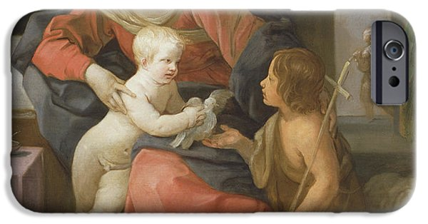 Baptist Paintings iPhone Cases - Madonna and Child with Saint John the Baptist iPhone Case by Guido Reni