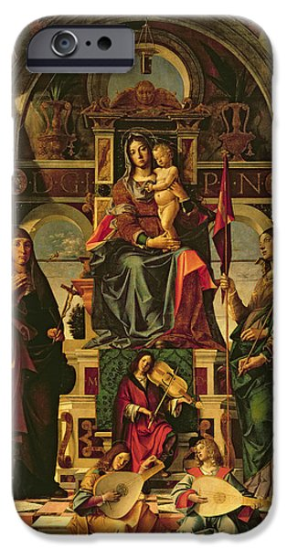 Madonna iPhone Cases - Madonna and Child with Saints iPhone Case by Bartolomeo Montagna