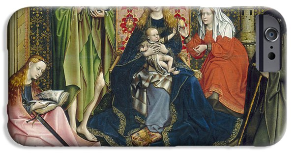 Saint Catherine iPhone Cases - Madonna And Child With Saints In The Enclosed Garden, C. 1440- 60 Oil On Panel iPhone Case by Master of Flemalle