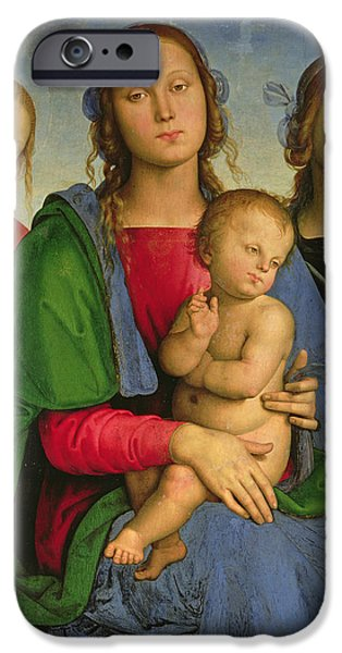 Renaissance iPhone Cases - Madonna And Child With St. Catherine And St. Rosa, 1493 Oil On Canvas On Panel iPhone Case by Pietro Perugino