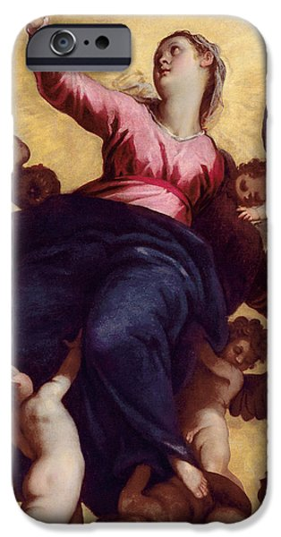 Il iPhone Cases - Madonna Carried by Angels iPhone Case by Palma Il Giovane