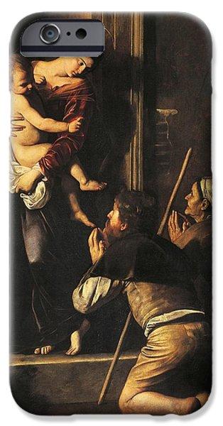 Pilgrims iPhone Cases - Madonna dei Pellegrini or Madonna of Loreto iPhone Case by Michelangelo Merisi da Caravaggio