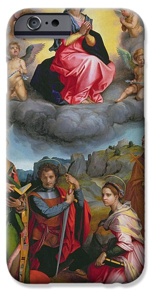 Catherine iPhone Cases - Madonna in Glory with Four Saints iPhone Case by Andrea del Sarto