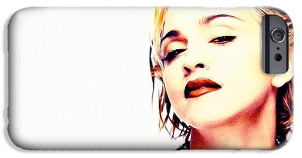 Madonna Digital Art iPhone Cases - Madonna iPhone Case by Jonas Luis