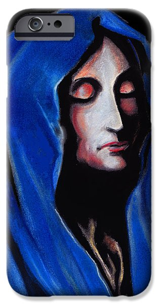 Spiritual Pastels iPhone Cases - Madonna of Sorrows iPhone Case by John Keaton