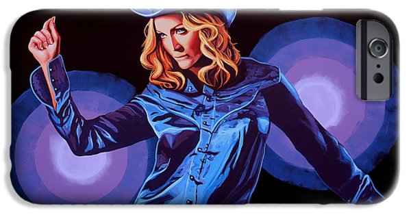 Rays Paintings iPhone Cases - Madonna iPhone Case by Paul Meijering