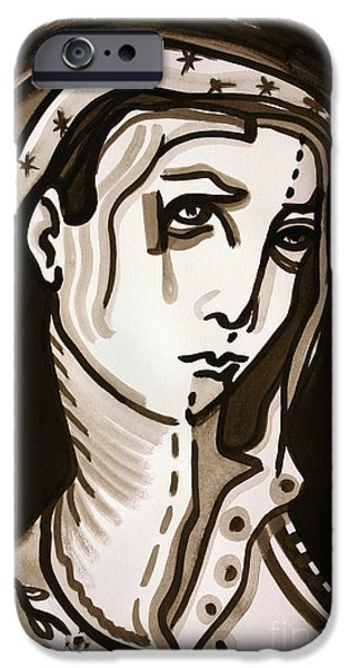 Religious Drawings iPhone Cases - Madonna iPhone Case by Sandoval Maciel