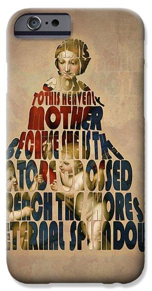 Mother Mary Digital Art iPhone Cases - Madonna Typography Artwork iPhone Case by Georgeta Blanaru