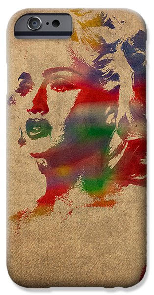 Madonna iPhone Cases - Madonna Watercolor Portrait on Worn Distressed Canvas iPhone Case by Design Turnpike
