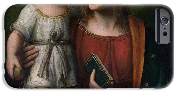 Jesus With Children iPhone Cases - Madonna with Child iPhone Case by Bernardino Luini
