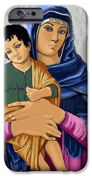 Mother Mary Digital Art iPhone Cases - Madonna With Child Blessing iPhone Case by Karon Melillo DeVega