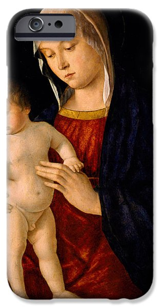 Young Paintings iPhone Cases - Madonna with the Child Blessing iPhone Case by Giovanni Bellini
