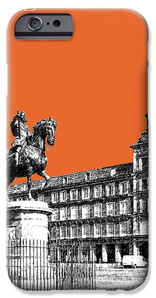 Pen And Ink iPhone Cases - Madrid Skyline Plaza Mayor - Coral iPhone Case by DB Artist