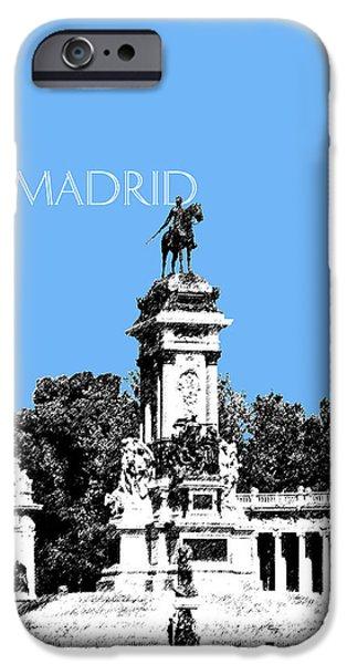 Pen And Ink iPhone Cases - Madrid Skyline Retiro Park - Light Blue iPhone Case by DB Artist