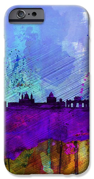 Romantic Digital iPhone Cases - Madrid Watercolor Skyline iPhone Case by Naxart Studio