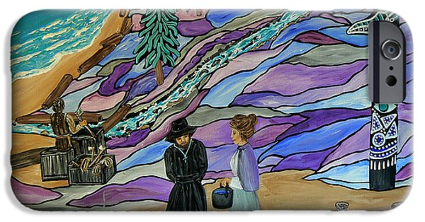 Canadian Culture Paintings iPhone Cases - Magdalen Island Settlers iPhone Case by Barbara St Jean