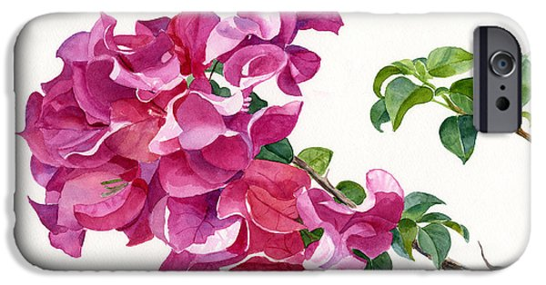 Dark Pink iPhone Cases - Magenta Colored Bougainvillea with Leaves iPhone Case by Sharon Freeman