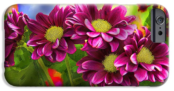 Staley Mixed Media iPhone Cases - Magenta Flowers iPhone Case by Chuck Staley
