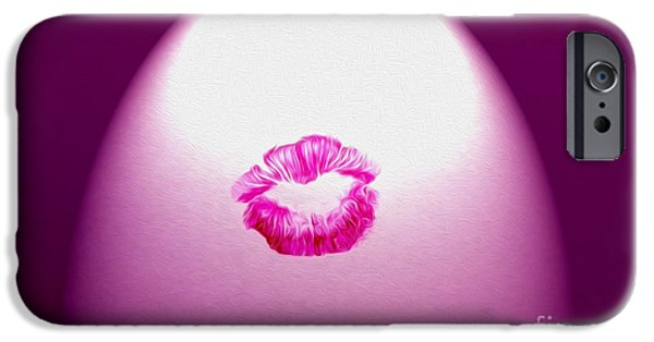 Beauty Mark iPhone Cases - Magenta Kiss iPhone Case by Candy Frangella
