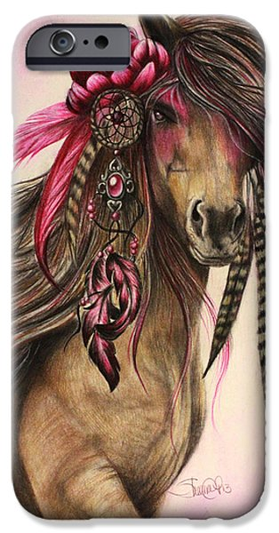 Horse Pastels iPhone Cases - Magenta Warrior  iPhone Case by Sheena Pike