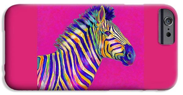 Zebra Digital Art iPhone Cases - Magenta Zebra iPhone Case by Jane Schnetlage