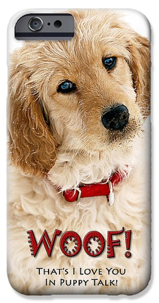 Puppy Love Greeting Cards iPhone Cases - Maggie Woof iPhone Case by Mark Baker