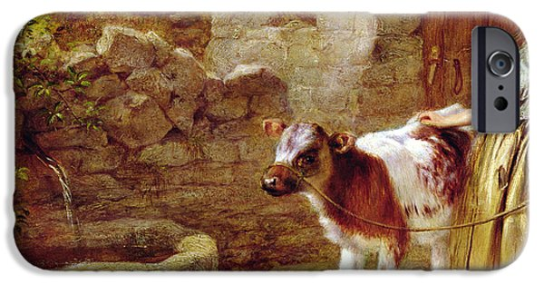 Cow iPhone Cases - Maggies Charge iPhone Case by John H Dell