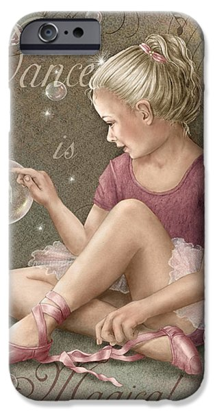 Little Girl Mixed Media iPhone Cases - Magic Ballerina iPhone Case by Beverly Levi-Parker