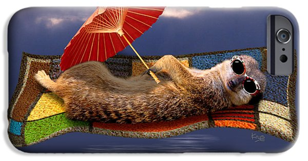 Meerkat Digital Art iPhone Cases - Magic Carpet Ride iPhone Case by Krys Bailey