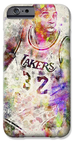 Magic Johnson iPhone Cases - Magic Johnson iPhone Case by Aged Pixel