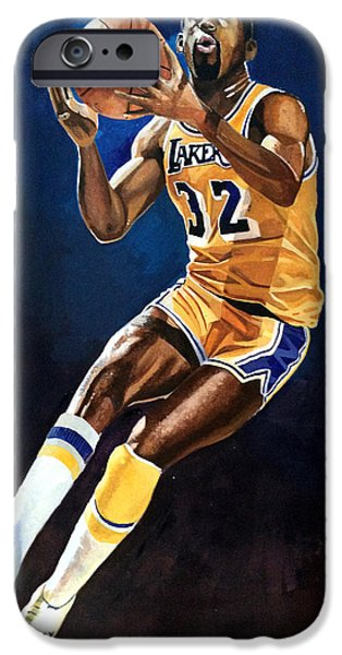Magic Johnson iPhone Cases - Magic Johnson - Lakers iPhone Case by Michael  Pattison