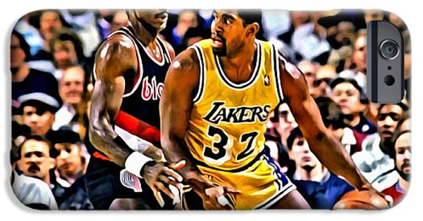 Magic Johnson iPhone Cases - Magic Johnson vs Clyde Drexler iPhone Case by Florian Rodarte