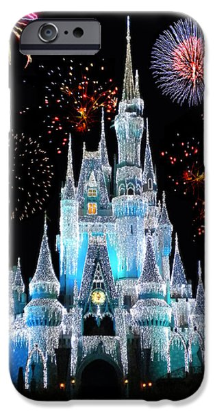 Magic Kingdom iPhone Cases - Magic Kingdom Castle In Frosty Light Blue with Fireworks 06 iPhone Case by Thomas Woolworth