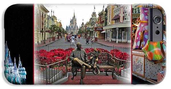 Casey Digital iPhone Cases - Magic Kingdom Walt Disney World 3 Panel Composite iPhone Case by Thomas Woolworth