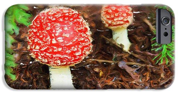 Mushroom Digital Art iPhone Cases - Magic Mushrooms iPhone Case by Ayse Deniz