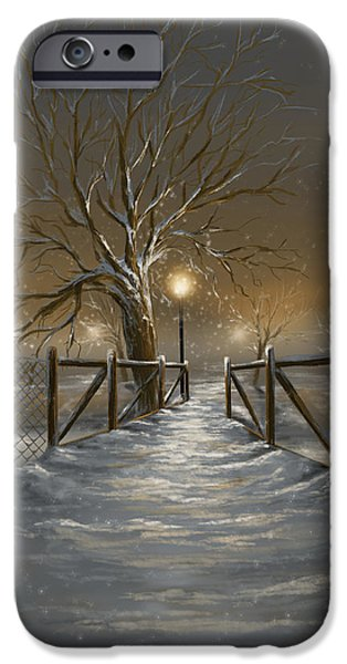 Snowy Evening iPhone Cases - Magic night iPhone Case by Veronica Minozzi