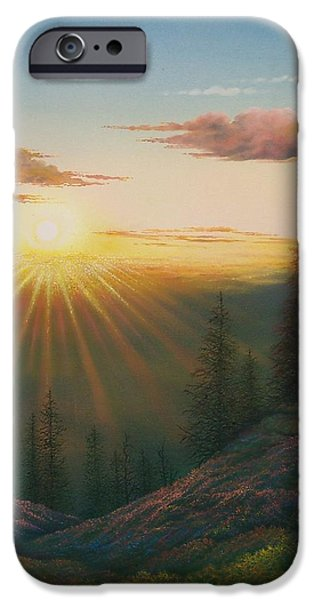 Sun Rays Paintings iPhone Cases - Magic Rays iPhone Case by Jerry Sauls