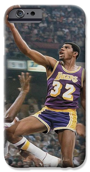 Magic Johnson iPhone Cases - Magic time iPhone Case by Paint Splat
