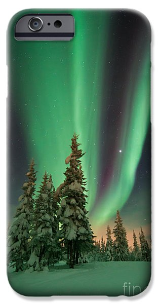 Northern Lights iPhone Cases - Magic winter night iPhone Case by Priska Wettstein