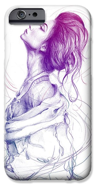 Purple Prints iPhone Cases - Purple Fashion Illustration iPhone Case by Olga Shvartsur