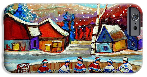 Hockey Paintings iPhone Cases - Magical Pond Hockey Memories Hockey Art Snow Falling Winter Fun Country Hockey Scenes  Spandau Art iPhone Case by Carole Spandau