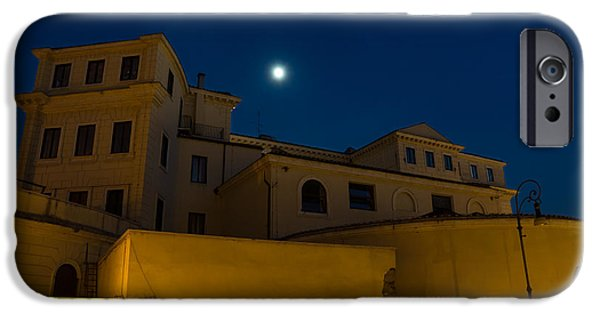 Night Lamp iPhone Cases - Magical Rome Italy - Yellow Facades and Moonlight iPhone Case by Georgia Mizuleva