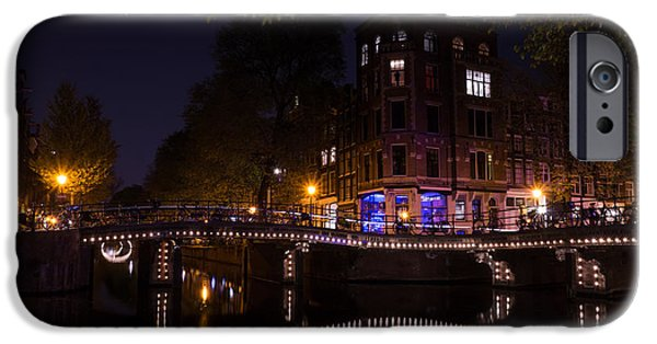 Night Lamp iPhone Cases - Magical Sparkling Amsterdam Canals and Bridges at Night iPhone Case by Georgia Mizuleva