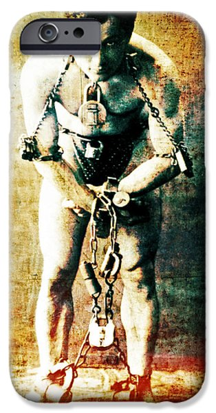 Magician Harry Houdini in Chains   iPhone Case by The  Vault - Jennifer Rondinelli Reilly