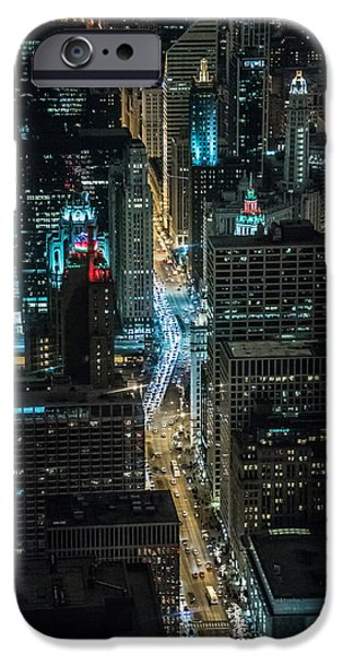 Willis Tower iPhone Cases - Magnificent Mile at night from the 96th iPhone Case by Alan Marlowe