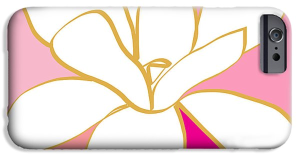 Magnolia iPhone Cases - Magnolia 1- colorful painting iPhone Case by Linda Woods