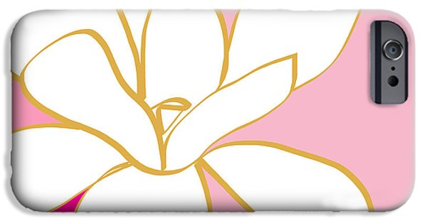 Magnolia iPhone Cases - Magnolia 2- colorful floral painting iPhone Case by Linda Woods